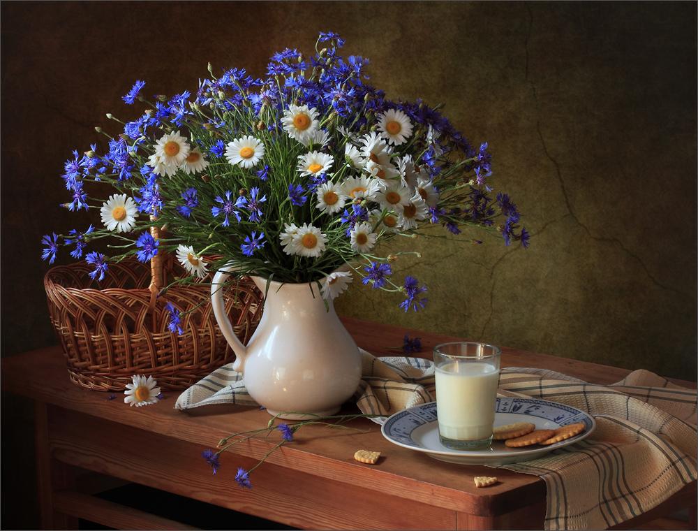 Картинка с васильками с добрым утром
